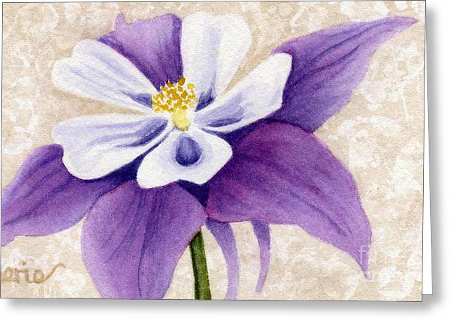 Columbine In Violet Greeting Card by Vikki Wicks
