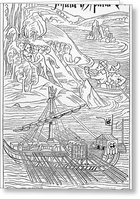 Columbus Arriving At Guanahani Greeting Card by Cci Archives