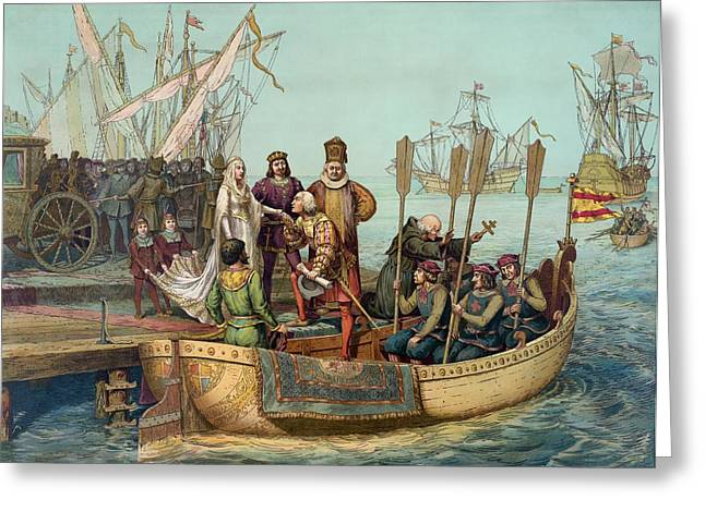 Columbus Departs Spain, August 1492 Greeting Card by Science Photo Library