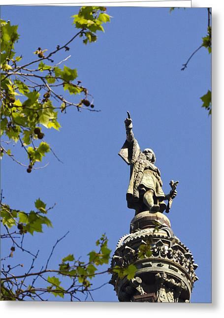 Columbus Monument - Barcelona Greeting Card by Jon Berghoff