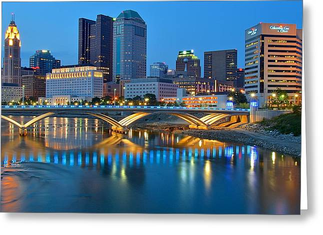 Columbus Ohio Blue Hour Greeting Card by Frozen in Time Fine Art Photography