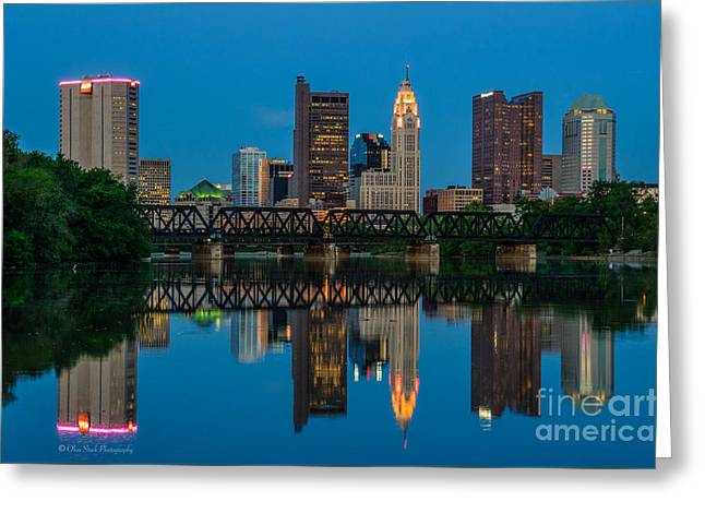 Columbus Ohio Night Skyline Photo Greeting Card