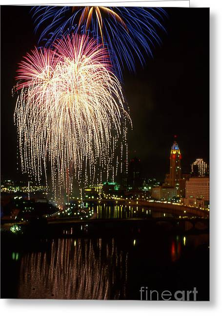 Columbus Red White And Boom Greeting Card