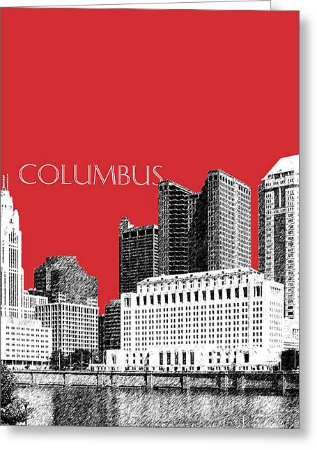 Columbus Skyline - Red Greeting Card
