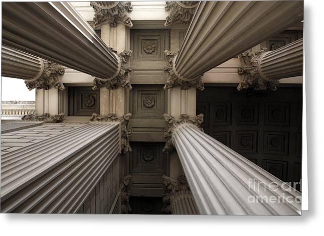 Columns At The National Archives In Washington Dc Greeting Card