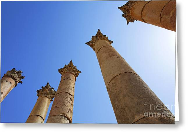 Columns At The Temple Of Artemis At Jerash Jordan Greeting Card by Robert Preston