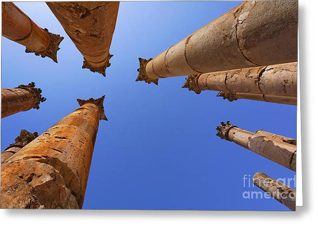 Columns At The Temple Of Artemis In Jerash Greeting Card by Robert Preston