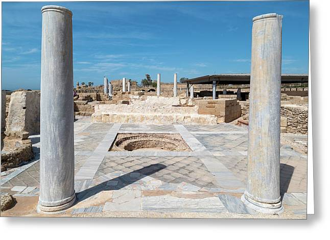 Columns In Archaeological Site Greeting Card