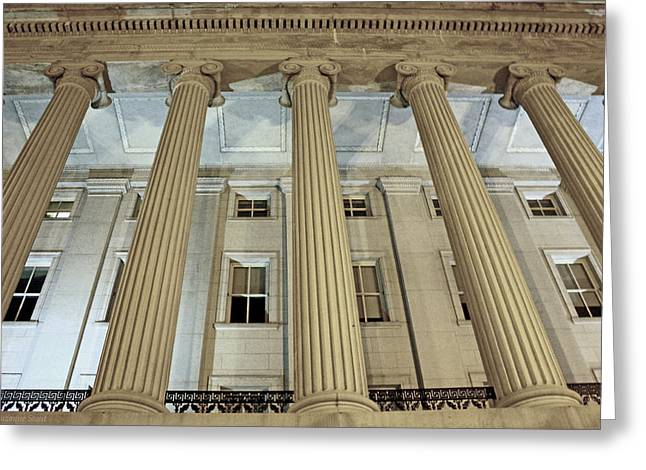 Greeting Card featuring the photograph Columns Of History by Suzanne Stout