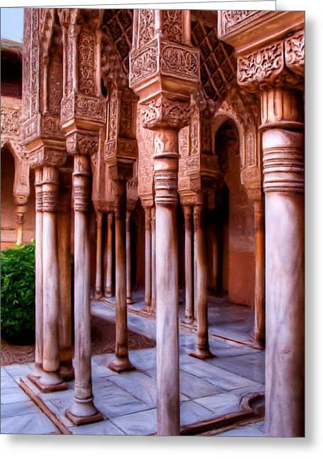 Columns Of The Court Of The Lions - Painting Greeting Card