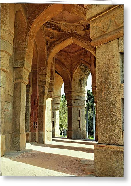 Columns On Tomb Of Mohammed Shah / Greeting Card by Adam Jones