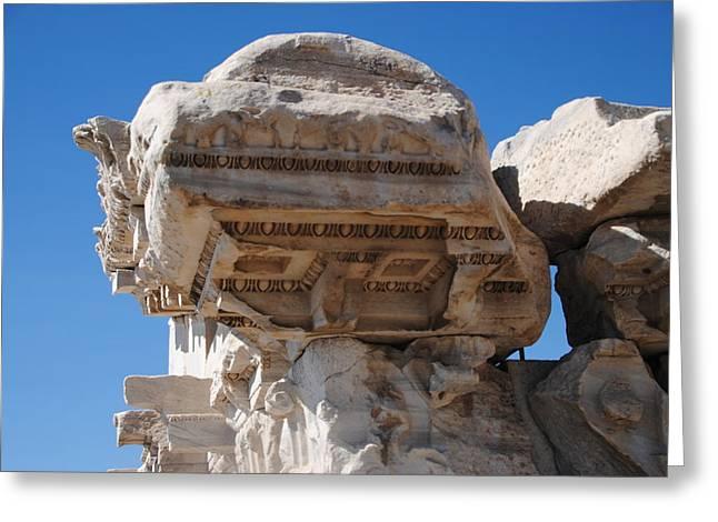 Columns - Pergamum Greeting Card by Jacqueline M Lewis
