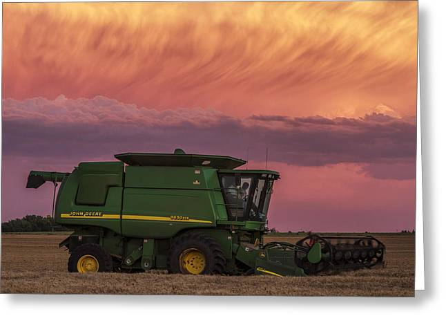 Combine At Sunset Greeting Card