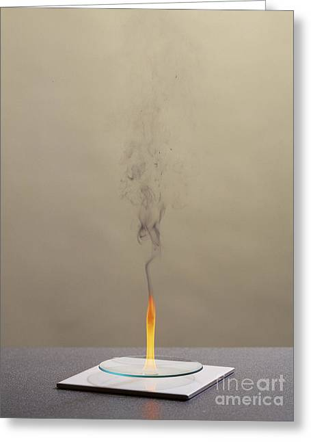 Combustion Of Cyclohexene Greeting Card by Martyn F. Chillmaid