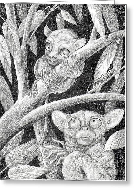 Greeting Card featuring the drawing Come Here My Baby Tarsier by June Walker