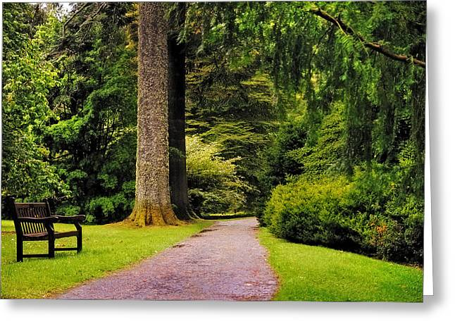 Come Sit With Me. Benmore Botanical Garden. Scotland Greeting Card by Jenny Rainbow