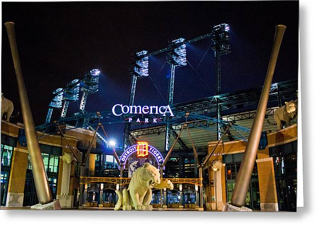 Comerica Park At Night  Greeting Card by John McGraw