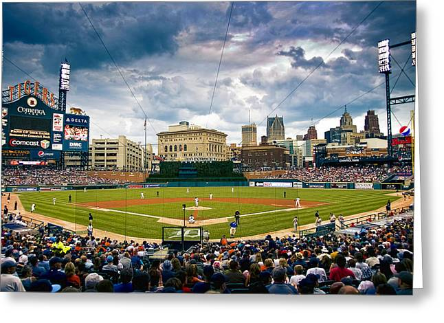 Comerica Park Greeting Card by Cindy Lindow