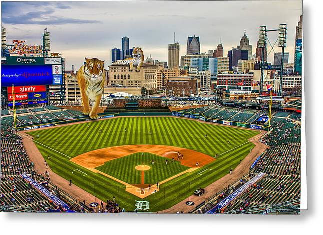Greeting Card featuring the photograph Comerica Park Detroit Mi With The Tigers by Nicholas  Grunas
