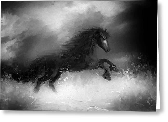 Comes A Dark Horse Greeting Card by Hazel Billingsley