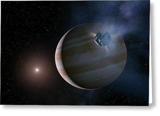 Comet Approaching Jupiter Greeting Card by Joe Tucciarone