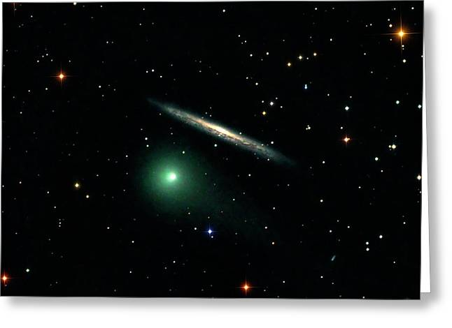 Comet C2014 Q2 And Galaxy Ngc 5907 Greeting Card