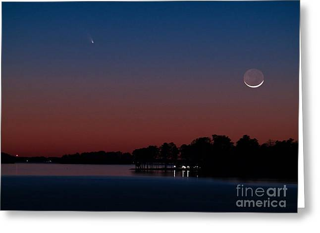 Comet Panstarrs And Crescent Moon Greeting Card