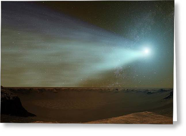 Comet Siding Spring From Mars Greeting Card by Nasa/goddard Space Flight Center Conceptual Image Lab/svs
