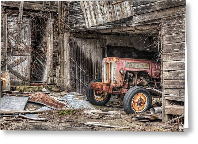 Greeting Card featuring the photograph Comfortable Chaos - Old Tractor At Rest - Agricultural Machinary - Old Barn by Gary Heller