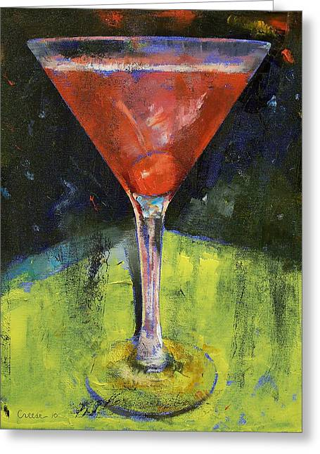 Comfortable Cherry Martini Greeting Card by Michael Creese