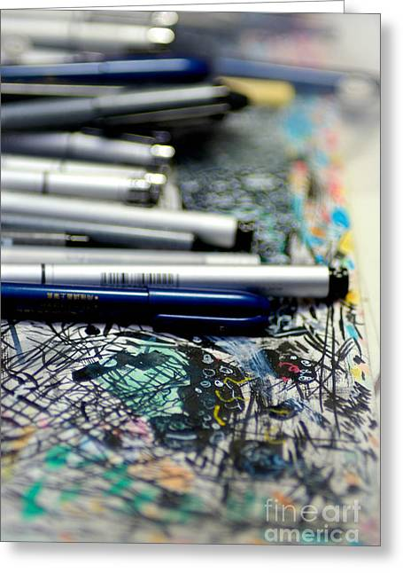Comic Book Artists Workspace Study 1 Greeting Card by Amy Cicconi