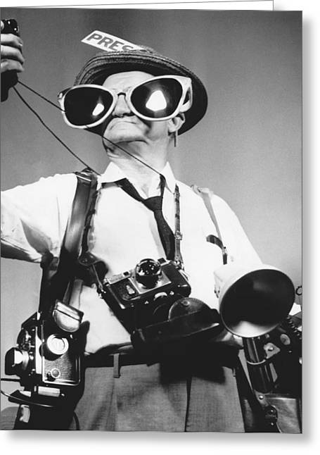 Comical Press Photographer Greeting Card by Underwood Archives
