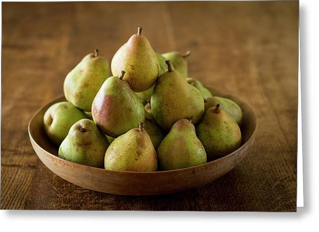 Comice Pears In Bowl Greeting Card by Aberration Films Ltd