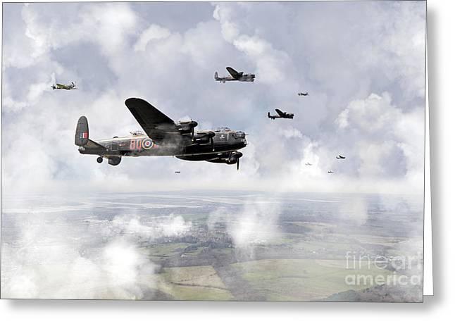 Bomber Escort Greeting Cards - Coming Home Greeting Card by J Biggadike