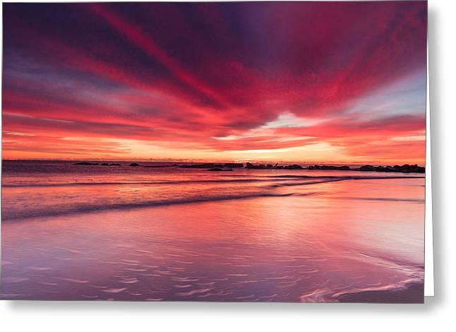 Coming Soon Sunrise At Hampton Beach Greeting Card by Jeff Sinon