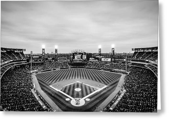 Comiskey Park Night Game - Black And White Greeting Card
