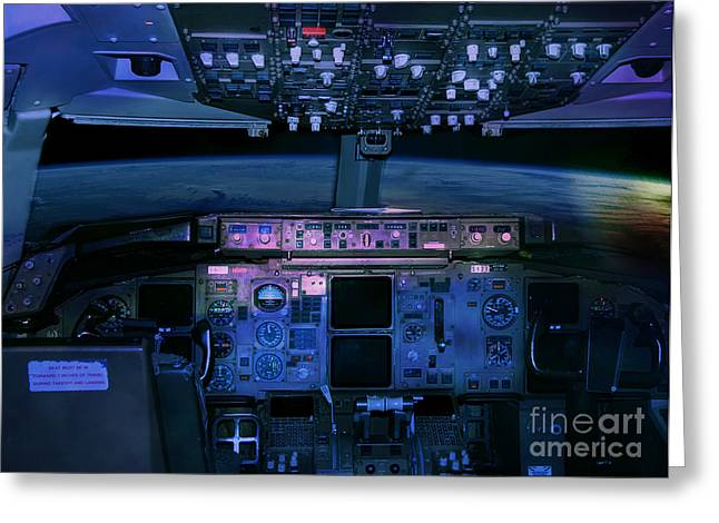 Commercial Airplane Cockpit By Night Greeting Card by Gunter Nezhoda