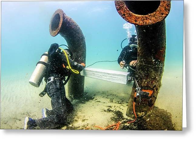 Commercial Divers Underwater Greeting Card