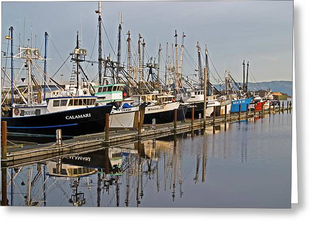 Commercial Fishing Boats Dock Greeting Card by Robert L. Potts