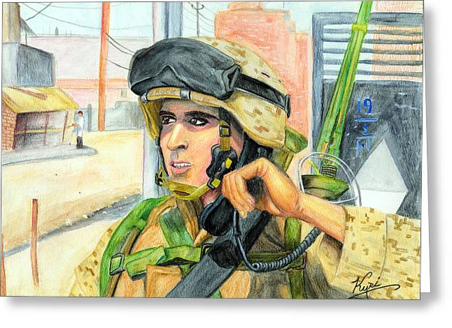 Communication On Patrol Greeting Card by Annette Redman