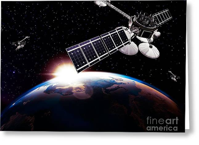 Communication Satellites In Space Above Earth With Rising Sun Greeting Card