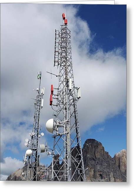 Communications Masts Greeting Card by Cordelia Molloy