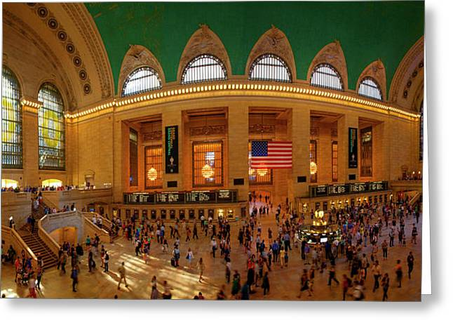 Commuters At A Railroad Station, Grand Greeting Card by Panoramic Images