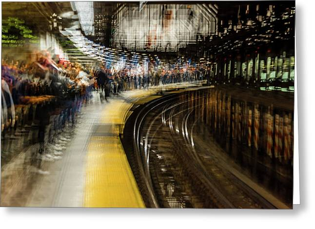 Commuters In Nyc Subway System Greeting Card
