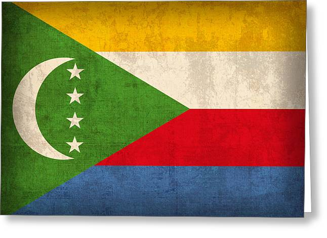 Comoros Flag Vintage Distressed Finish Greeting Card by Design Turnpike