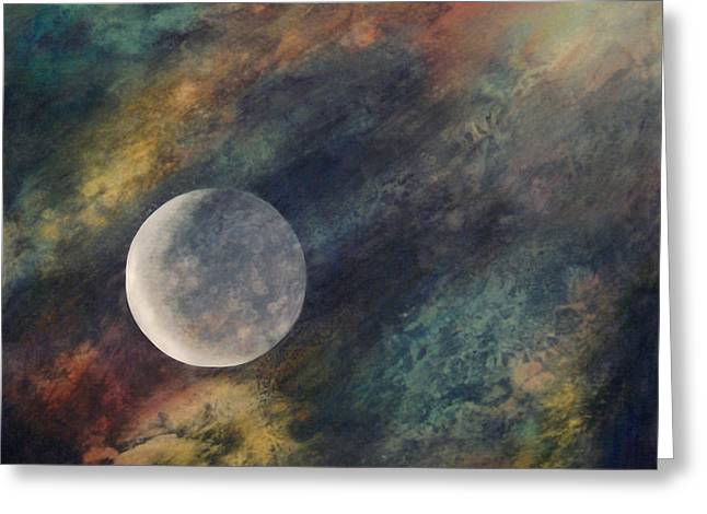 Greeting Card featuring the painting Companion Moon  by Ursula Freer