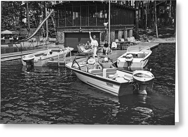Company Arrives At The Cabin By Boat Greeting Card by Underwood Archives