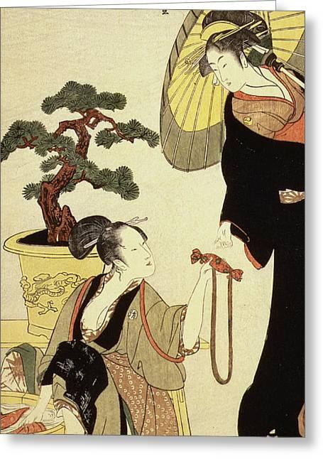 Comparison Of Celebrated Beauties And The Loyal League Greeting Card by Kitagawa Utamaro