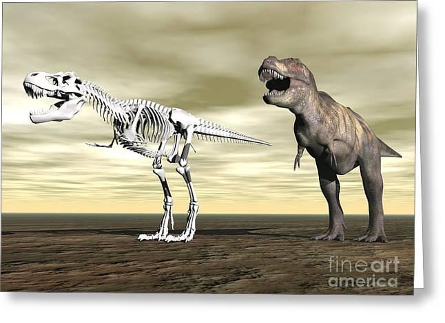 Comparison Of Tyrannosaurus Rex Greeting Card by Elena Duvernay