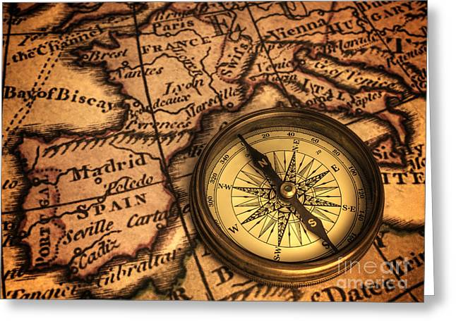 Compass And Ancient Map Of Europe Greeting Card